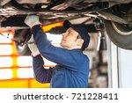 portrait of a mechanic...   Shutterstock . vector #721228411