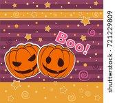 halloween card with pumpkin | Shutterstock .eps vector #721229809