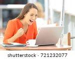 single excited entrepreneur... | Shutterstock . vector #721232077