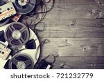 retro audio reels and cassette... | Shutterstock . vector #721232779
