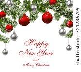 new year. green fir branches...   Shutterstock .eps vector #721236709