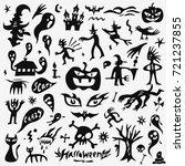 halloween  monsters doodles set   Shutterstock .eps vector #721237855