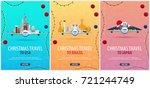 set of christmas travel posters ... | Shutterstock .eps vector #721244749