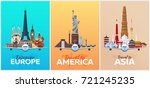 travel posters to europe ... | Shutterstock .eps vector #721245235