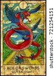 quetzalcoatl. ace of swords.... | Shutterstock . vector #721254151