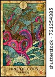 kraken. nine of cups. fantasy... | Shutterstock . vector #721254385