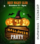 halloween party flyer with... | Shutterstock .eps vector #721266169