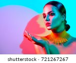 high fashion model woman... | Shutterstock . vector #721267267