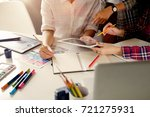 group of artists working on... | Shutterstock . vector #721275931