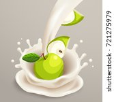 milk splash with green apple  ... | Shutterstock .eps vector #721275979