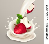 milk splash with red apple  ... | Shutterstock .eps vector #721276045