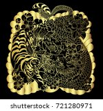 gold pattern the dragon with... | Shutterstock .eps vector #721280971