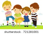 group of happy children standing | Shutterstock .eps vector #721281001