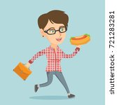 caucasian business woman eating ... | Shutterstock .eps vector #721283281