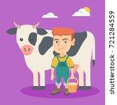 little caucasian farmer boy... | Shutterstock .eps vector #721284559