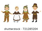 happy native american and... | Shutterstock .eps vector #721285204