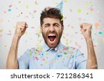 ecstatic emotional young... | Shutterstock . vector #721286341