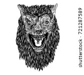 ferocious wolf head. angry...   Shutterstock .eps vector #721287589