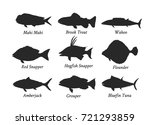 set of silhouettes of edible... | Shutterstock .eps vector #721293859