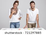two young colleagues have... | Shutterstock . vector #721297885