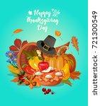 happy thanksgiving day vector... | Shutterstock .eps vector #721300549