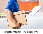 deliver man in blue uniform and ... | Shutterstock . vector #721301491