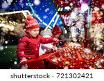 kids at traditional christmas... | Shutterstock . vector #721302421
