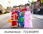 kids and parents on halloween... | Shutterstock . vector #721302895