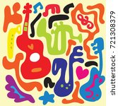 pattern with various musical... | Shutterstock .eps vector #721308379