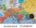 compass on the map of europe | Shutterstock . vector #721308454