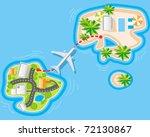 flight to sea resort from noisy ...   Shutterstock .eps vector #72130867