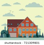 suburban house  cottage with... | Shutterstock .eps vector #721309801