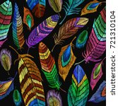 color feathers embroidery... | Shutterstock .eps vector #721310104