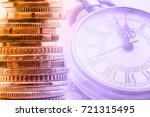 Small photo of Time value of money or TVM, time is money concept : Coins arranged in vertical stack and a vintage pocket watch in two tone colors. Ideas of money that will devalue in the future due to the inflation.