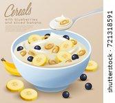 yogurt bowl with cereals ... | Shutterstock .eps vector #721318591