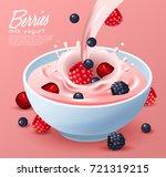 yogurt bowl with milk splash  ...   Shutterstock .eps vector #721319215