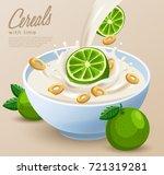 yogurt bowl with milk splash  ... | Shutterstock .eps vector #721319281