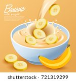 yogurt bowl with milk splash  ... | Shutterstock .eps vector #721319299