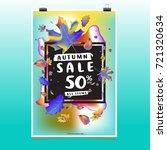 vector autumn sale poster...   Shutterstock .eps vector #721320634