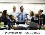 group of students laboratory... | Shutterstock . vector #721325539