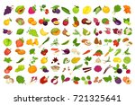 fruits  vegetables  berries and ... | Shutterstock .eps vector #721325641