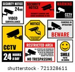 security camera signs  cctv... | Shutterstock .eps vector #721328611
