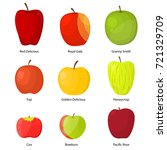 apples different varieties with ... | Shutterstock .eps vector #721329709