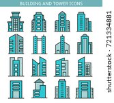 building and tower icons | Shutterstock .eps vector #721334881