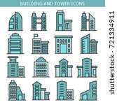 building and tower icons | Shutterstock .eps vector #721334911