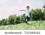 aspirations. boy on old... | Shutterstock . vector #721340161