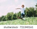 aspirations. boy on old... | Shutterstock . vector #721340161