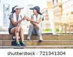 two young beautiful asian model ...   Shutterstock . vector #721341304