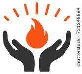 fire care hands flat raster...   Shutterstock . vector #721348864