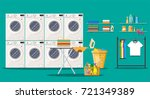 laundry room interior with... | Shutterstock .eps vector #721349389